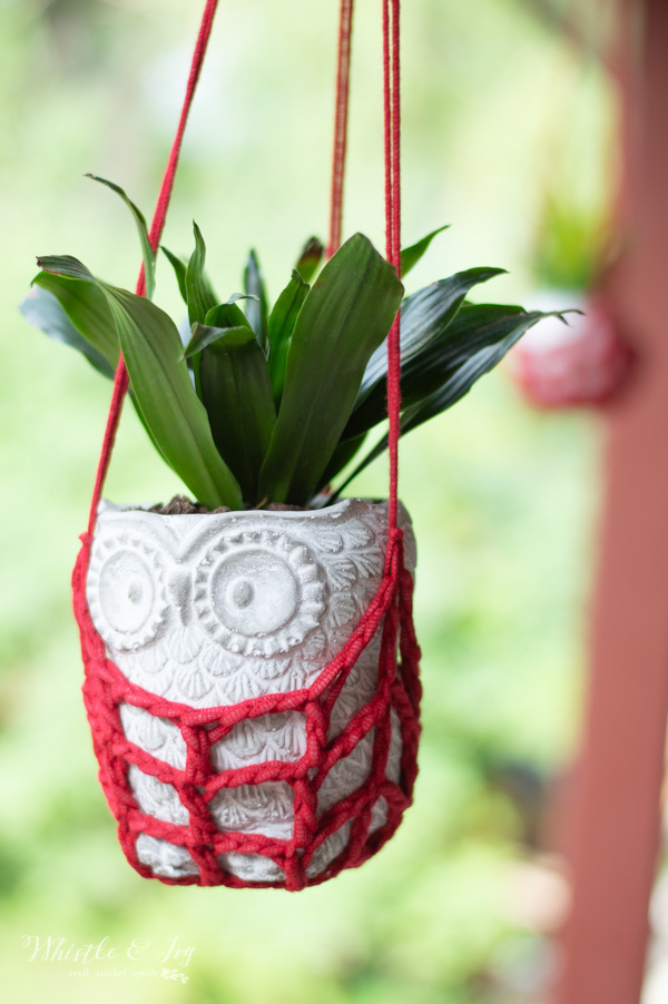 crochet plant hanger with owl planter