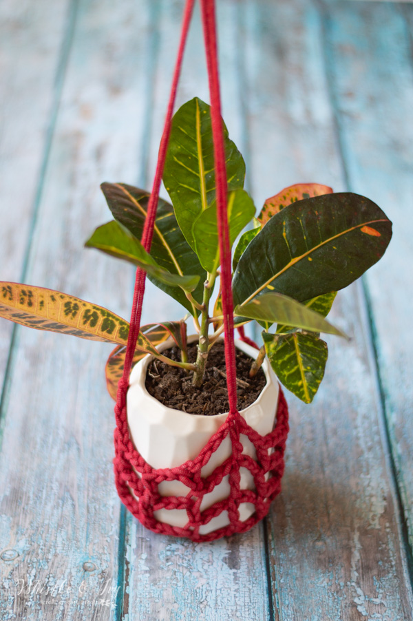 free crochet pattern for red crochet plant hanger