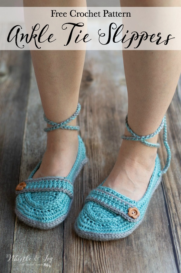 free crochet pattern ankle tie crochet slippers with button strap