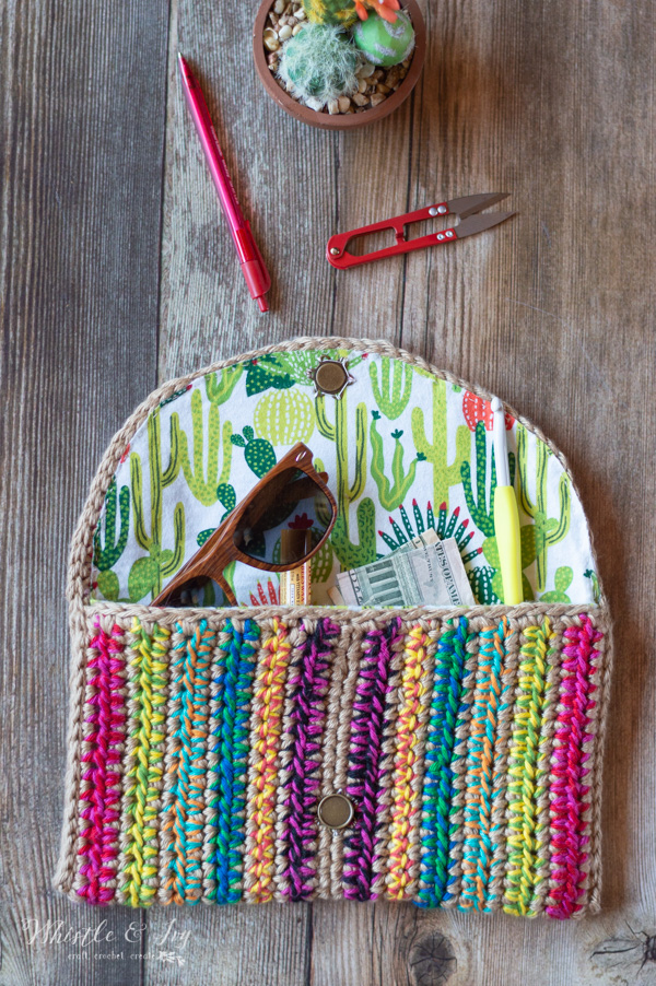 Rica Colorful Crochet Clutch Free Crochet Pattern Whistle And Ivy