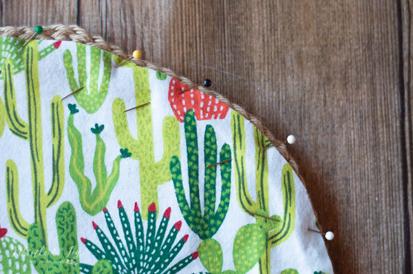 sewing lining in crochet clutch cactus fabric