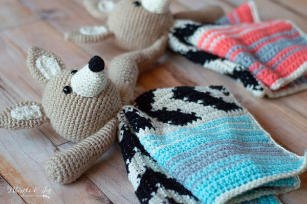 crochet serape baby lovey with coyote and blue stripes
