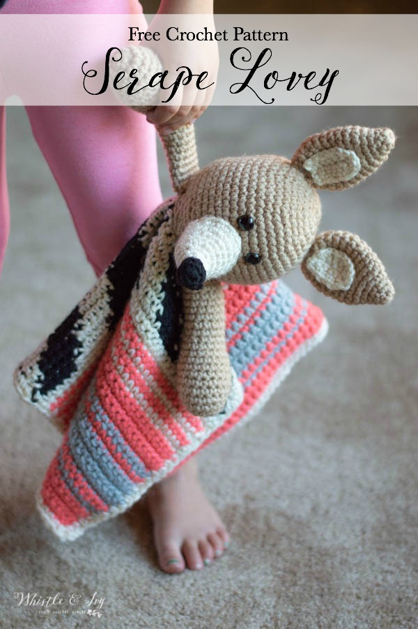 crochet serape baby lovey with coyote