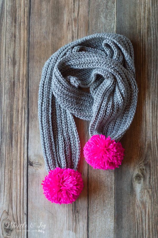 ribbed crochet pom-pom scarf free crochet pattern