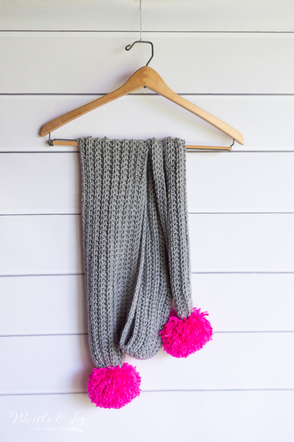 crochet ribbed scarf with pom-poms on ends
