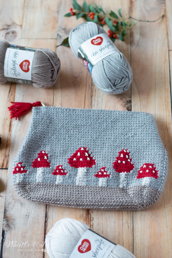 Crochet Mushroom Pouch Free Crochet Pattern Whistle And Ivy