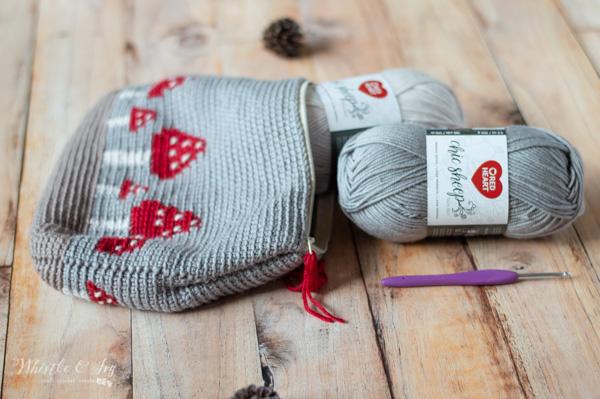 free crochet pattern mushroom pouch toadstool pattern