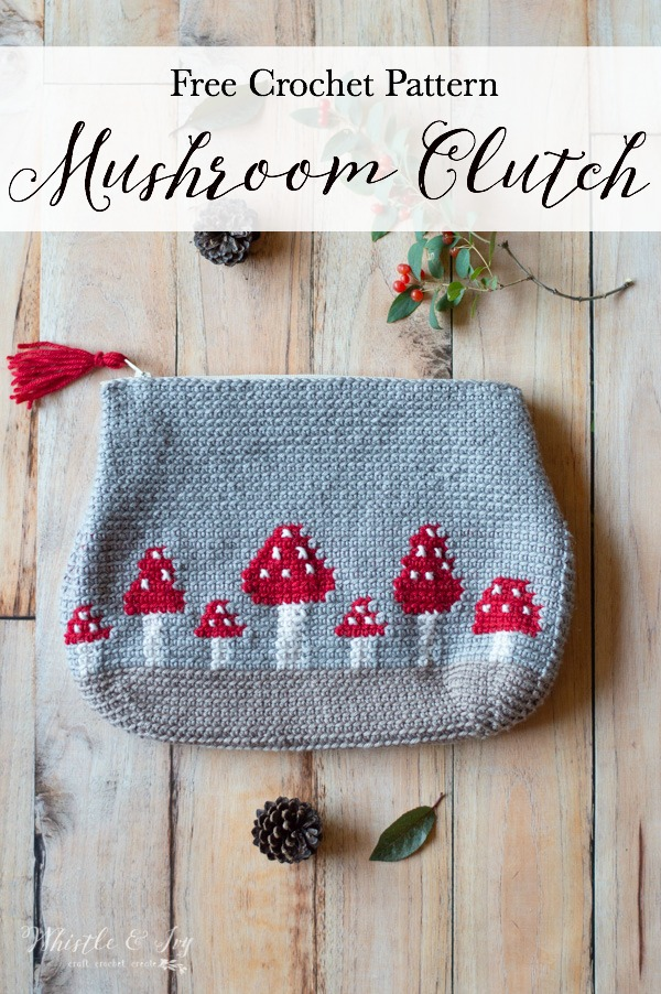 crochet pattern mushroom clutch red toadstools
