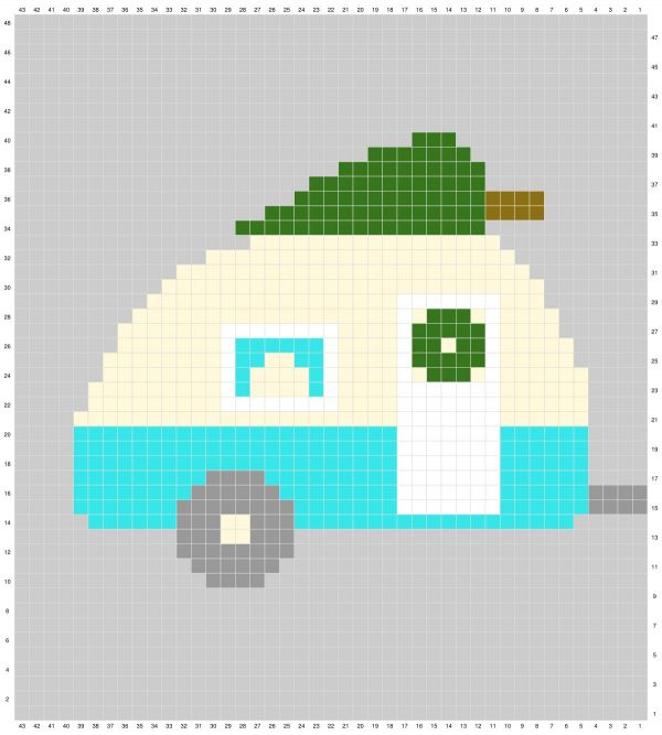 free graph holiday pillow Christmas camper trailer free crochet pattern