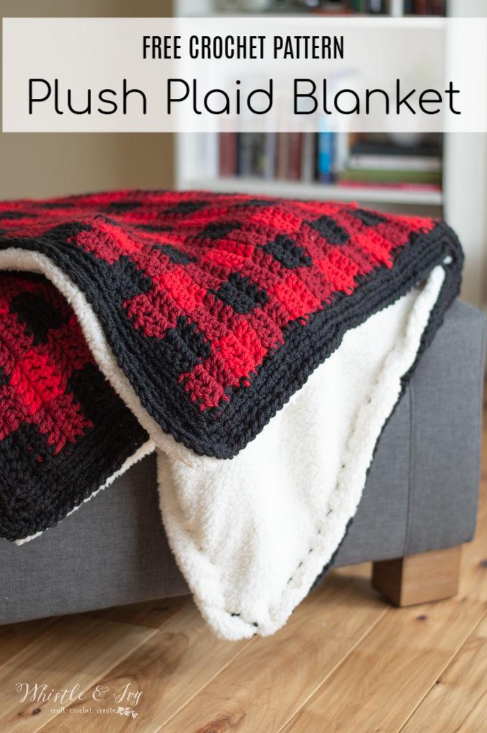 Crochet Buffalo Plaid Blanket Free Crochet Pattern Whistle And Ivy