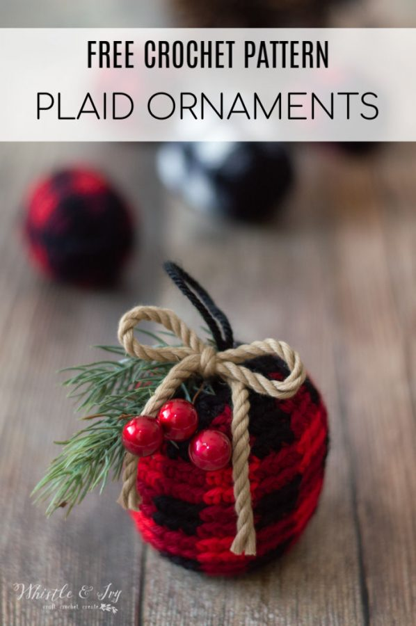 free crochet pattern for buffalo plaid crochet ornaments