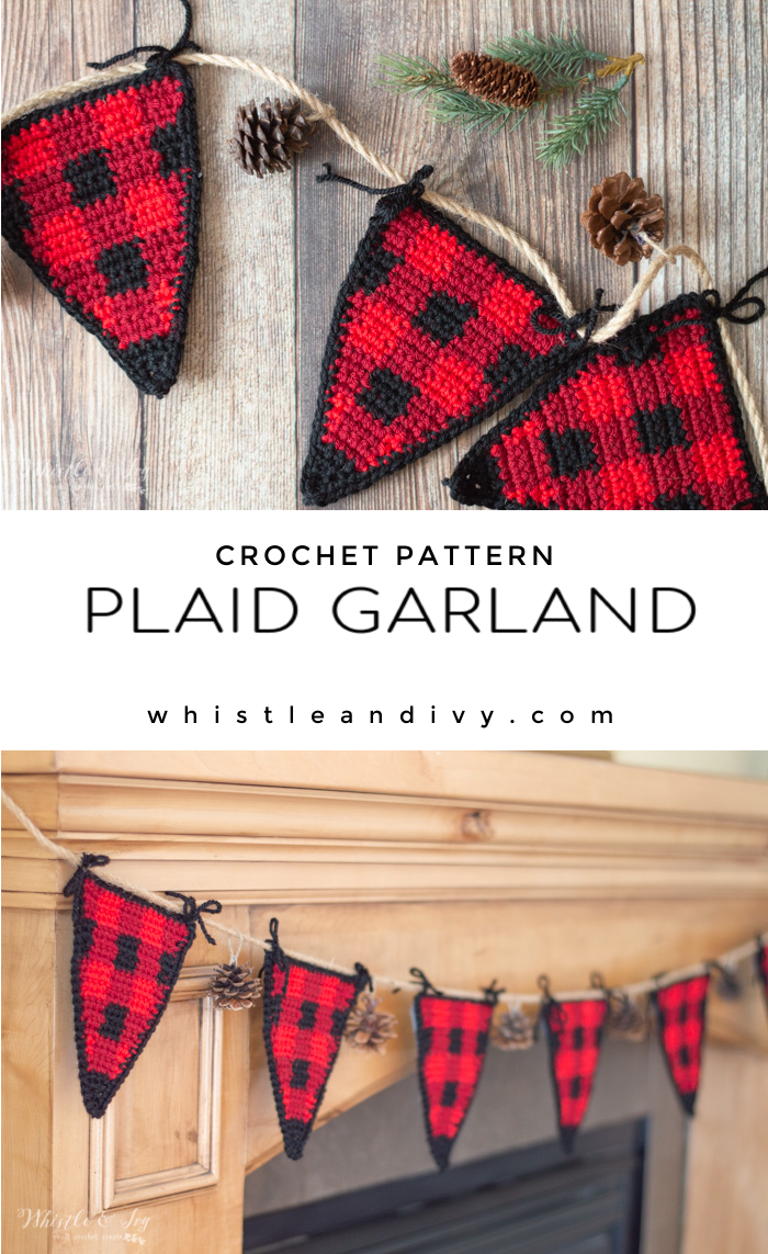 crochet plaid bunting garland crochet pattern