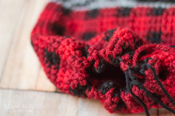 plaid hat cinched closed
