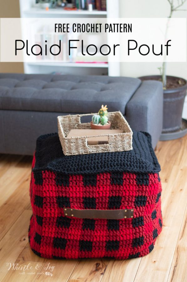 crochet buffalo plaid floor pouf free crochet pattern