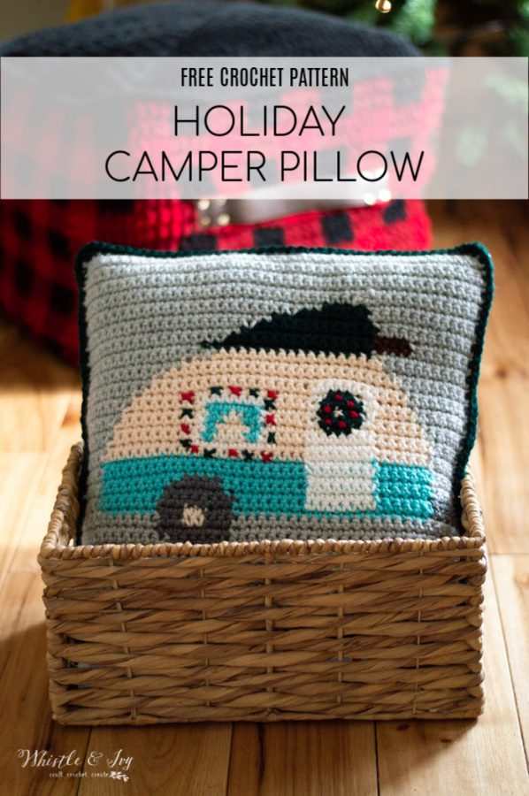free crochet patter graph Christmas camper pillow