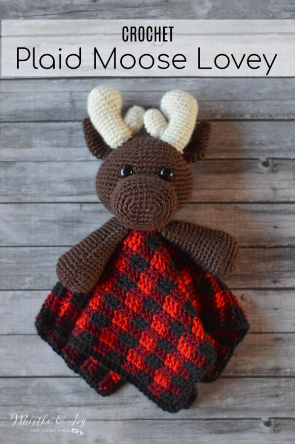 plaid moose lovey cute baby blanket