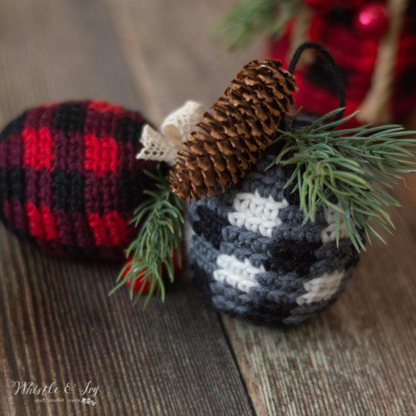 crochet plaid ornaments gray buffalo plaid crochet pattern