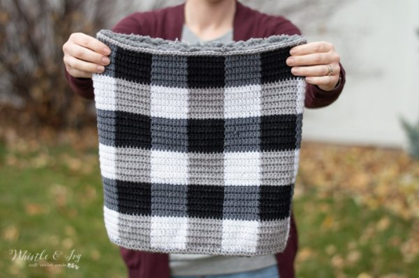 plaid cowl crochet for men free pattern