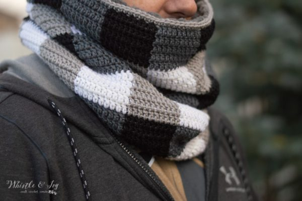 free crochet pattern buffalo plaid cowl crochet pattern for men