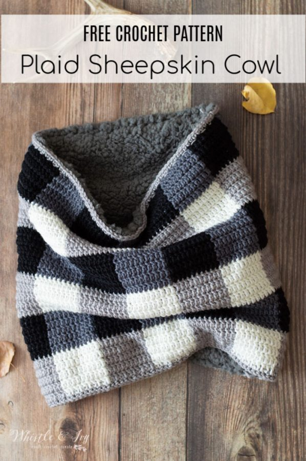 free crochet pattern faux sheepskin buffalo plaid cowl
