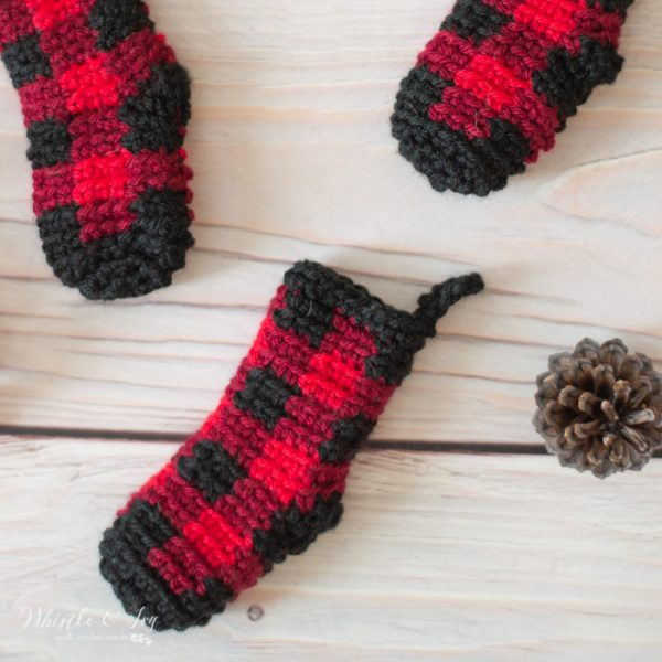 Crochet Plaid Mini Stockings Advent Calendar Free Crochet Pattern