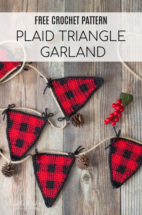 Crochet Plaid Triangle Garland Free Crochet Pattern