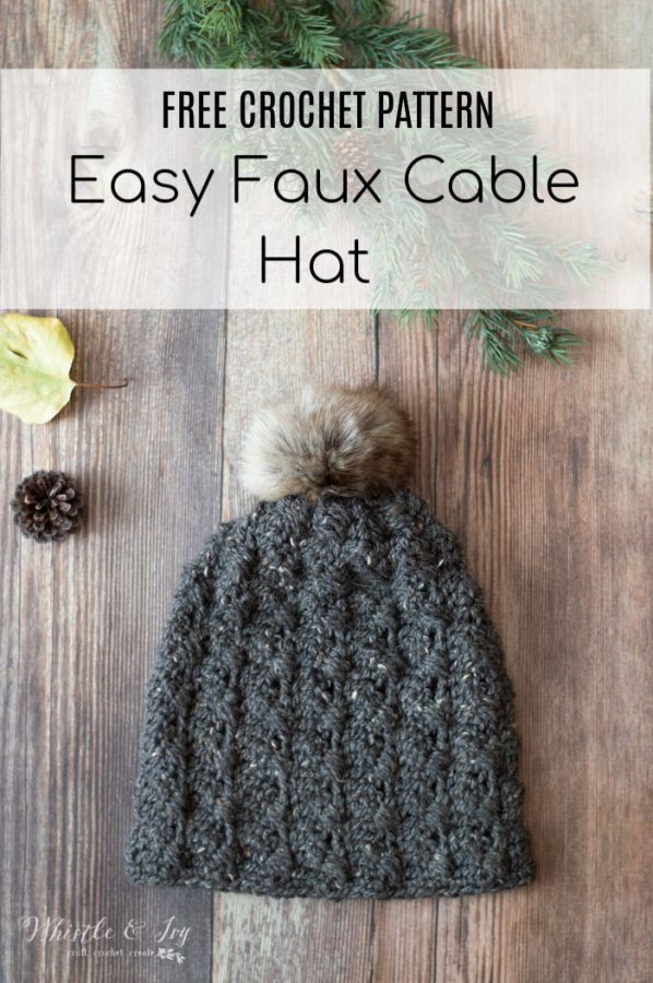 faux crochet cable hat free crochet pattern