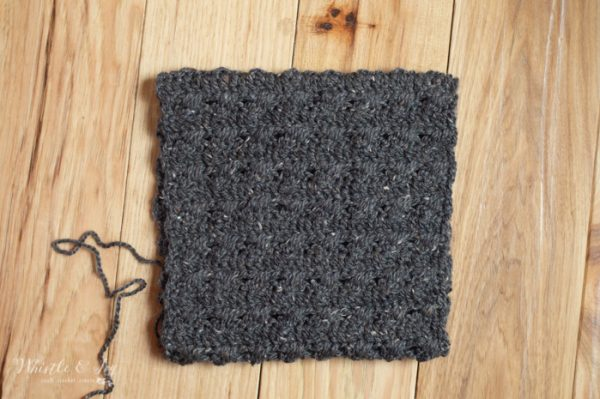 constructions of square to make a cabled crochet hat