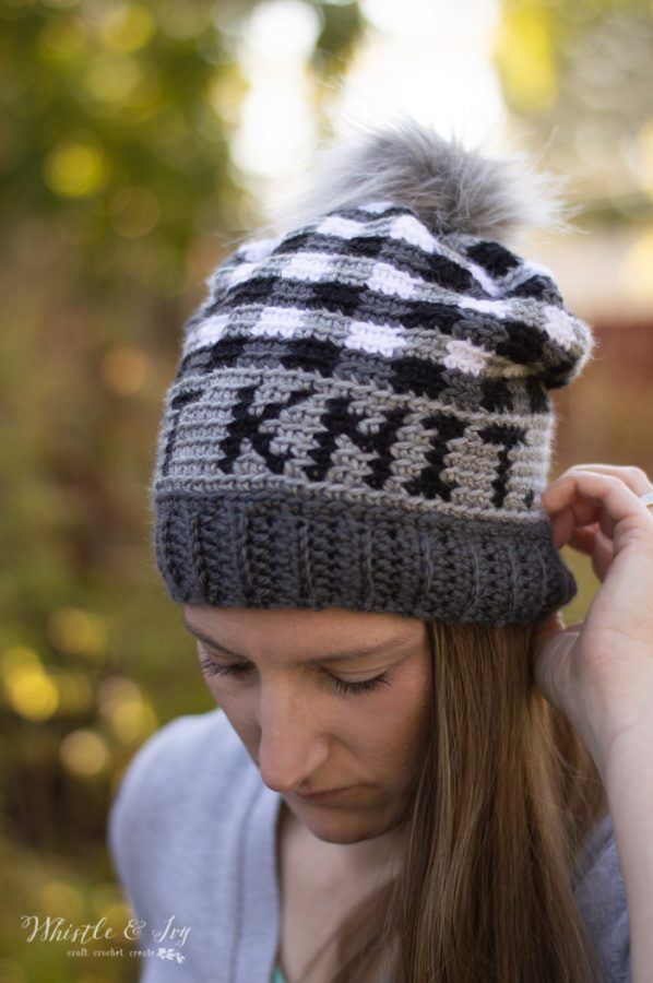 not knit crochet hat plaid free crochet pattern