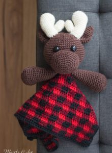 crochet pattern moose lovey with moose blanket for baby