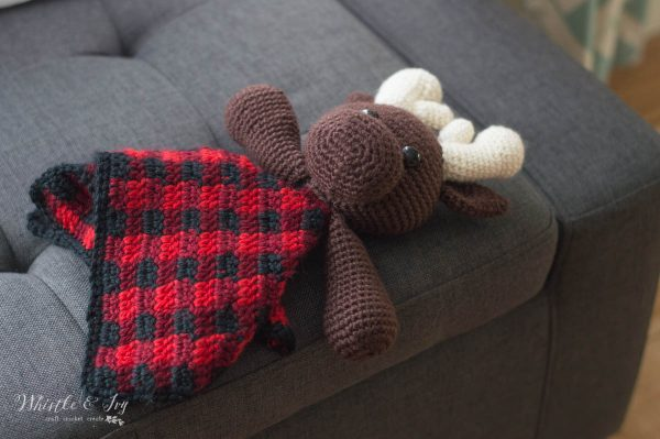 moose lovey crochet pattern with buffalo plaid blankey