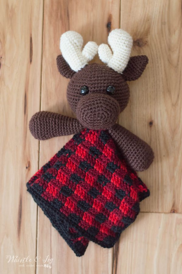 crochet moose lovey with plaid blanket