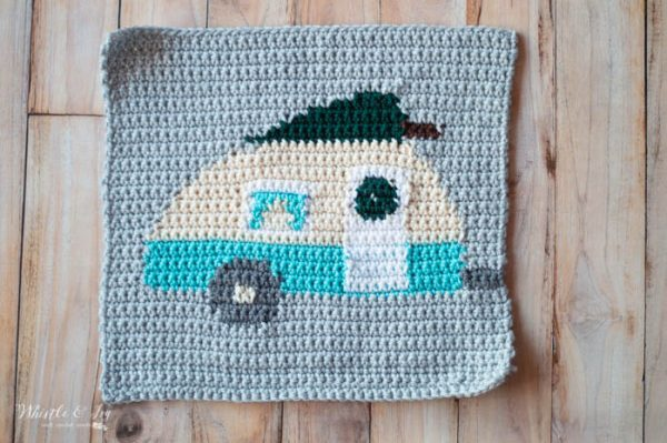 crochet Christmas camper pillow graph free crochet pattern