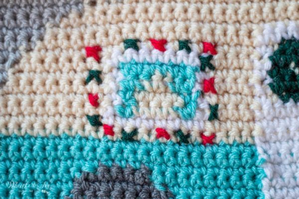 crochet cross stitch Christmas lights around window camper pillow
