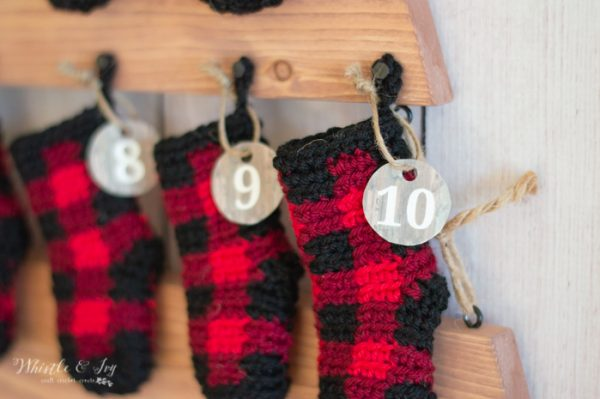 crochet plaid mini stockings advent calendar