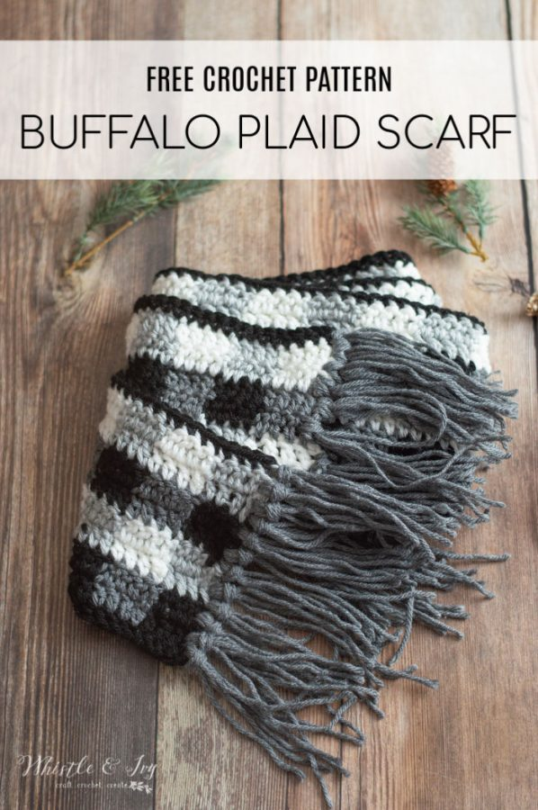 free crochet pattern buffalo plaid scarf