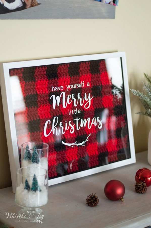crochet pattern buffalo plaid shadowbox that says have yourself a merry little Christmas