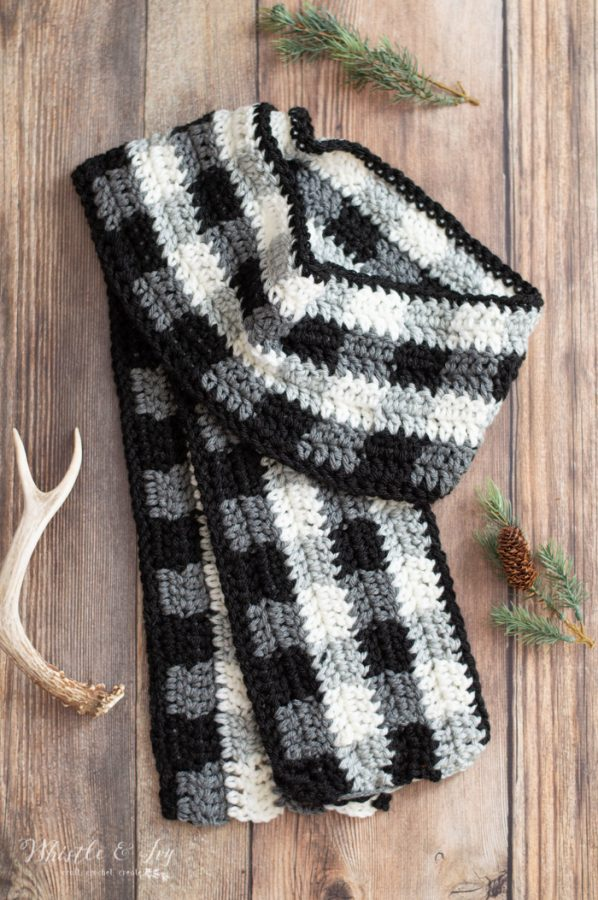 crochet plaid scarf free crochet pattern black and white buffalo plaid