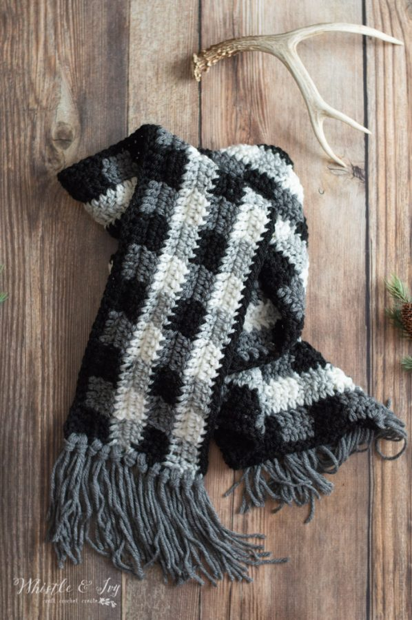 crochet buffalo plaid long scarf free crochet pattern