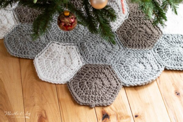 crochet hexagon tree skirt free crochet pattern