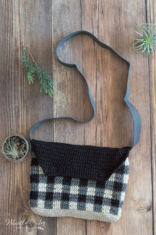 crochet pattern buffalo plaid cross body messenger bag with felt lining
