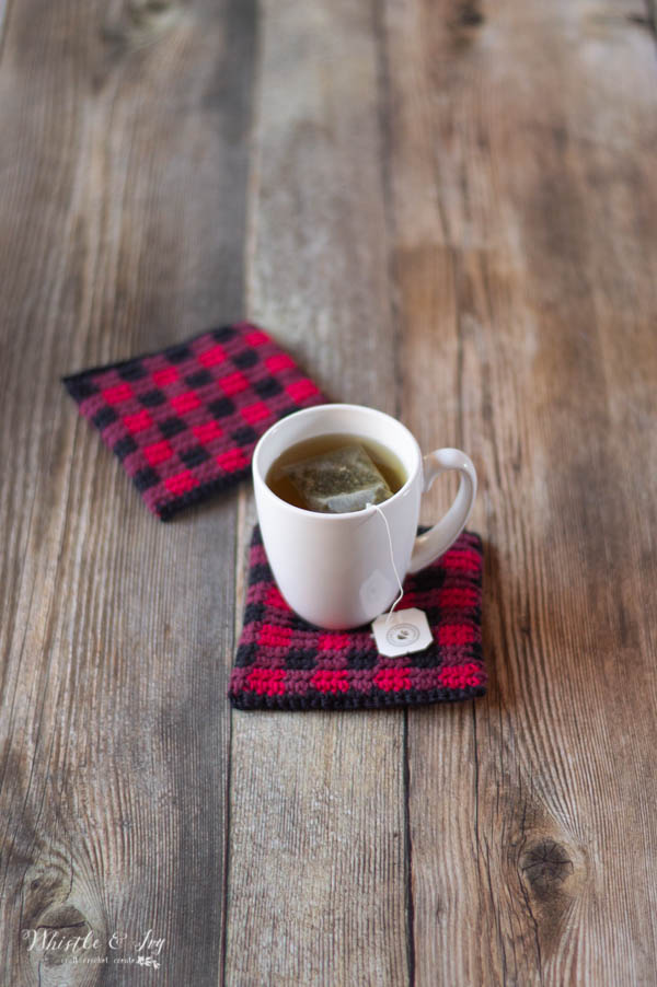 crochet pattern buffalo plaid coasters with 100% cotton