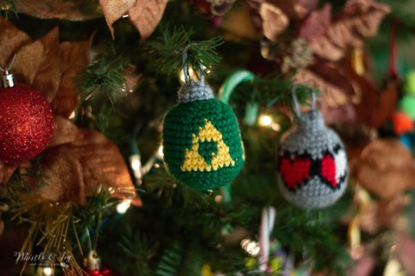 crochet pattern legend of zelda triforce and health heart christmas ornament