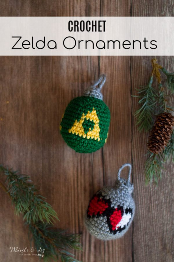 crochet legend of zelda ornaments triforce hearts