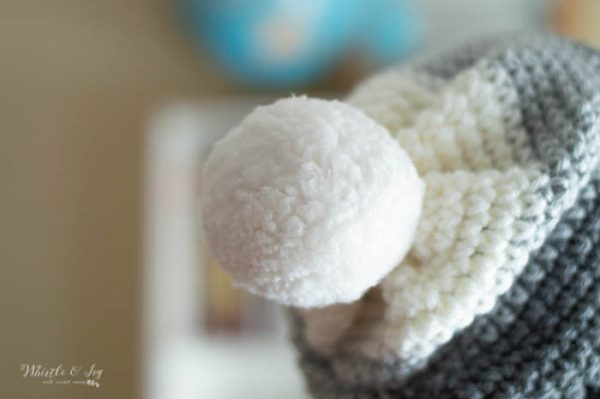sheepskin pom-pom on crochet hat