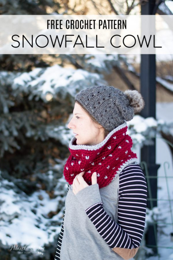 crochet pattern for fair isle cowl with snowfall technique