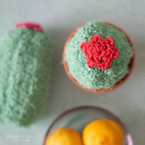 flower crochet cactus dish scrubber free crochet pattern