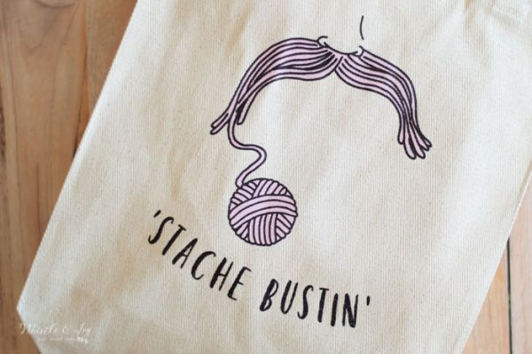 gentlemen mustache yarn tote canvas bag for crochet and knit