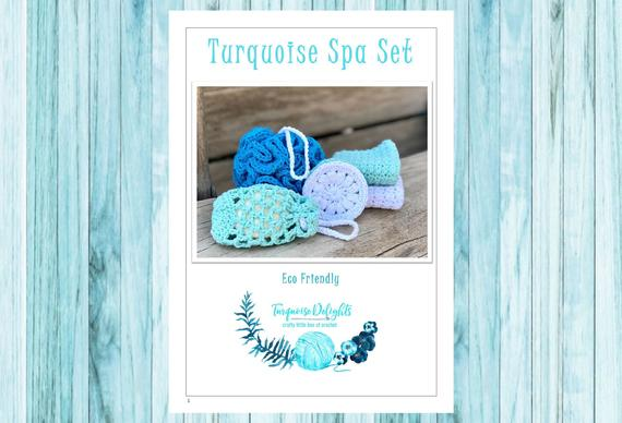 Crochet Eco Friendly Turquoise Spa Set Pattern