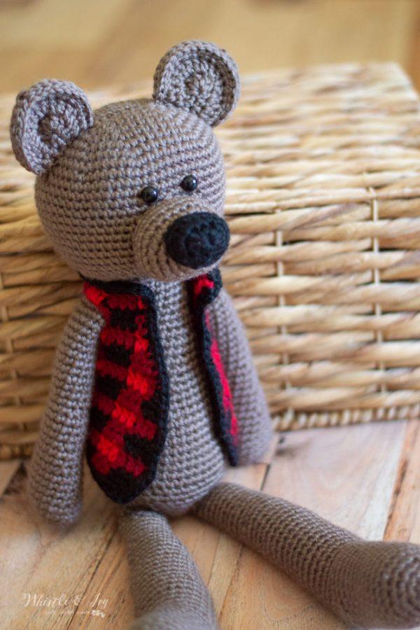 crochet teddy bear crochet pattern with buffalo plaid vest